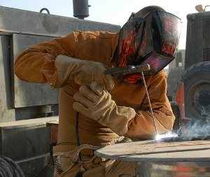construction welder on the job